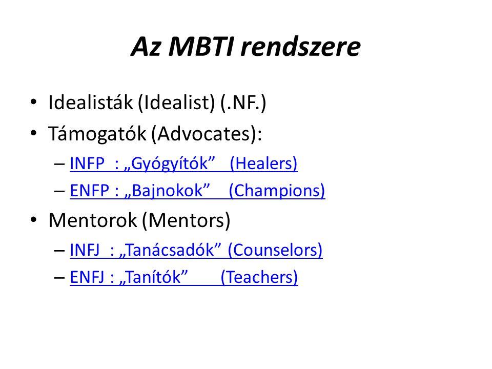 """Az MBTI rendszere Idealisták (Idealist) (.NF.) Támogatók (Advocates): – INFP : """"Gyógyítók (Healers) INFP : """"Gyógyítók (Healers) – ENFP : """"Bajnokok (Champions) ENFP : """"Bajnokok (Champions) Mentorok (Mentors) – INFJ : """"Tanácsadók (Counselors) INFJ : """"Tanácsadók (Counselors) – ENFJ : """"Tanítók (Teachers) ENFJ : """"Tanítók (Teachers)"""
