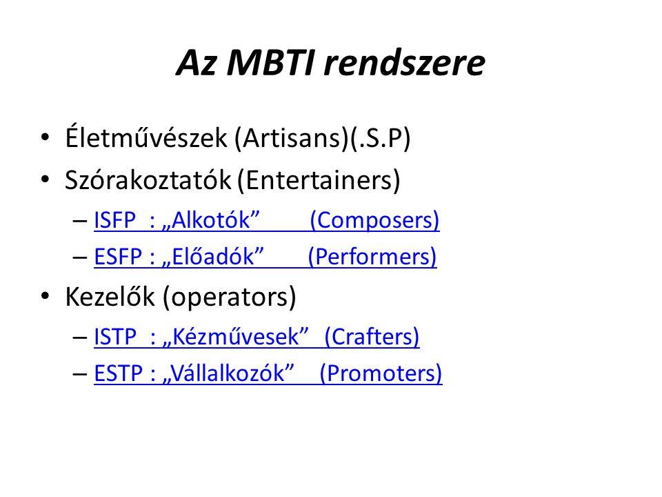 """Az MBTI rendszere Életművészek (Artisans)(.S.P) Szórakoztatók (Entertainers) – ISFP : """"Alkotók (Composers) ISFP : """"Alkotók (Composers) – ESFP : """"Előadók (Performers) ESFP : """"Előadók (Performers) Kezelők (operators) – ISTP : """"Kézművesek (Crafters) ISTP : """"Kézművesek (Crafters) – ESTP : """"Vállalkozók (Promoters) ESTP : """"Vállalkozók (Promoters)"""
