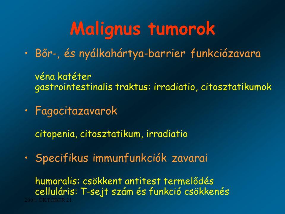 2004. OKTÓBER 21. Malignus tumorok Bőr-, és nyálkahártya-barrier funkciózavara véna katéter gastrointestinalis traktus: irradiatio, citosztatikumok Fa