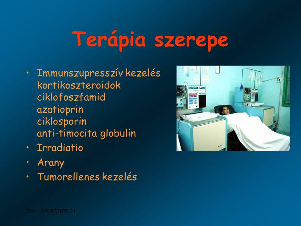 2004. OKTÓBER 21. Terápia szerepe Immunszupresszív kezelés kortikoszteroidok ciklofoszfamid azatioprin ciklosporin anti-timocita globulin Irradiatio A