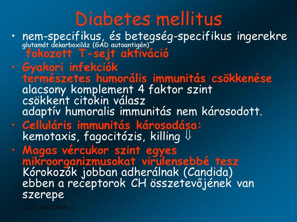 2004. OKTÓBER 21. Diabetes mellitus nem-specifikus, és betegség-specifikus ingerekre glutamát dekarboxiláz (GAD autoantigén) fokozott T-sejt aktiváció