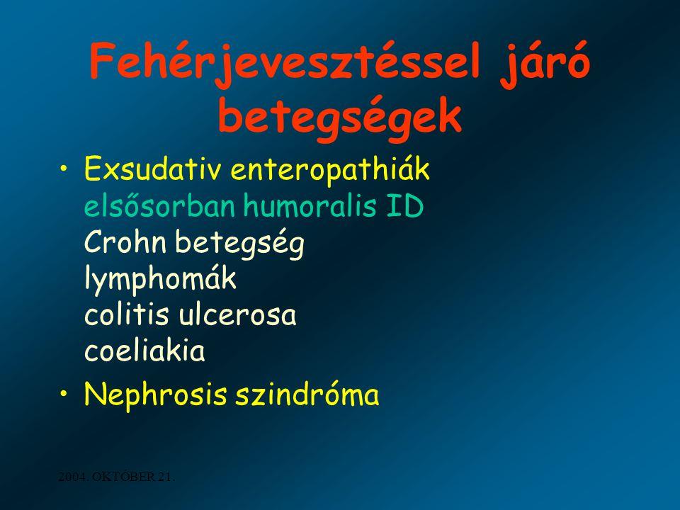 2004. OKTÓBER 21. Fehérjevesztéssel járó betegségek Exsudativ enteropathiák elsősorban humoralis ID Crohn betegség lymphomák colitis ulcerosa coeliaki