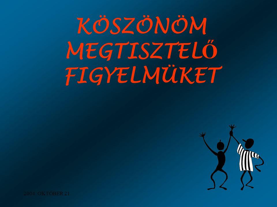 2004. OKTÓBER 21. KÖSZÖNÖM MEGTISZTEL Ő FIGYELMÜKET