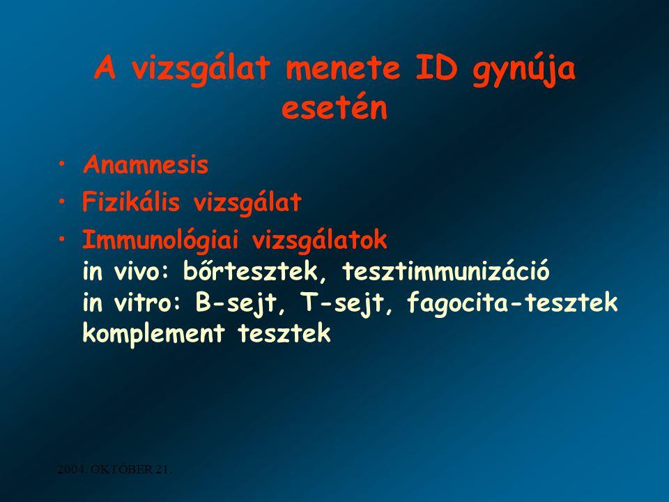 2004. OKTÓBER 21. A vizsgálat menete ID gynúja esetén Anamnesis Fizikális vizsgálat Immunológiai vizsgálatok in vivo: bőrtesztek, tesztimmunizáció in