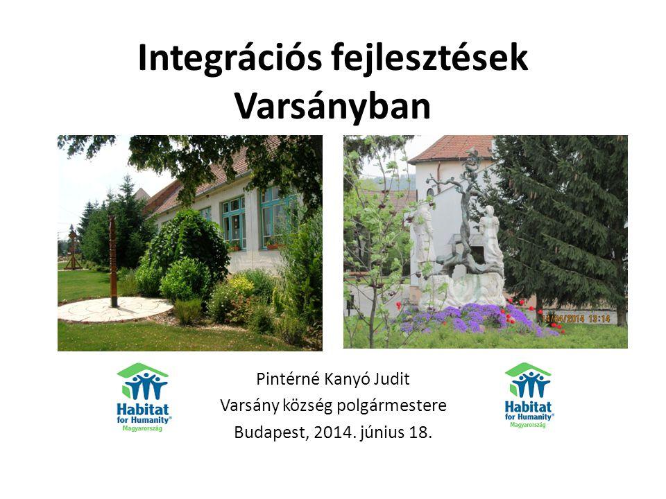 Integrációs fejlesztések Varsányban Pintérné Kanyó Judit Varsány község polgármestere Budapest, 2014.