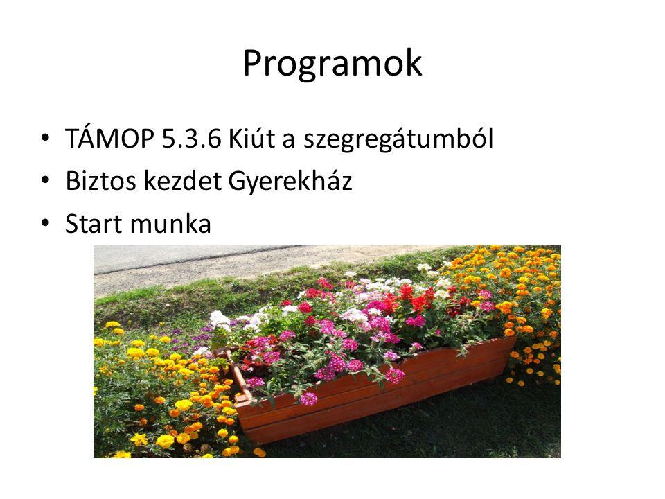 Programok TÁMOP 5.3.6 Kiút a szegregátumból Biztos kezdet Gyerekház Start munka