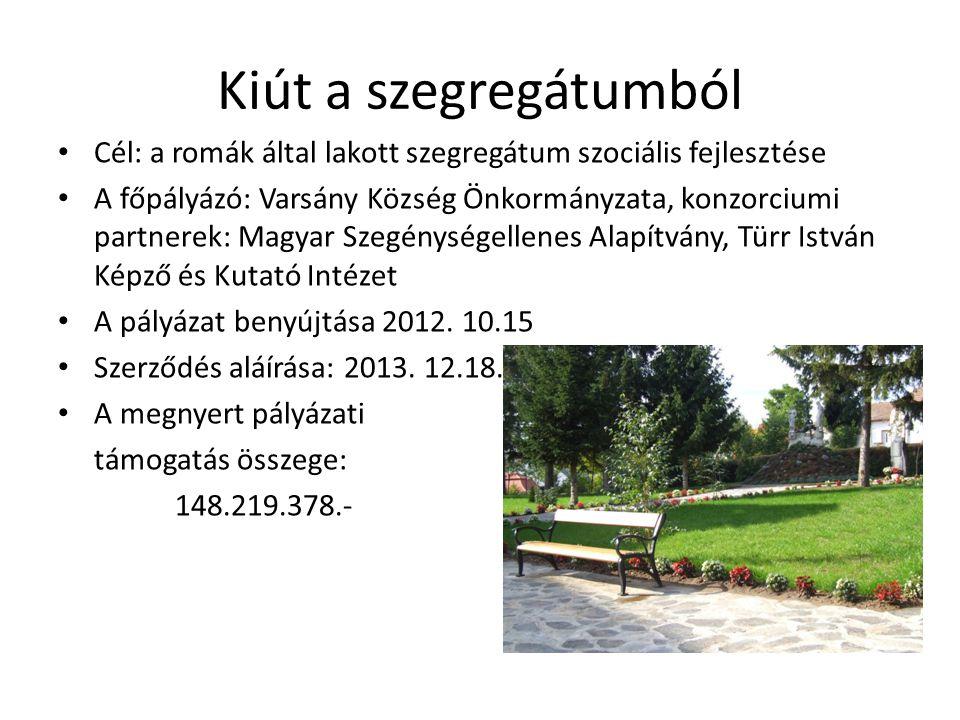 Az önkormányzat által vállalt feladatok Kiút a szegregátumból program Cserhaj épület kialakítása.
