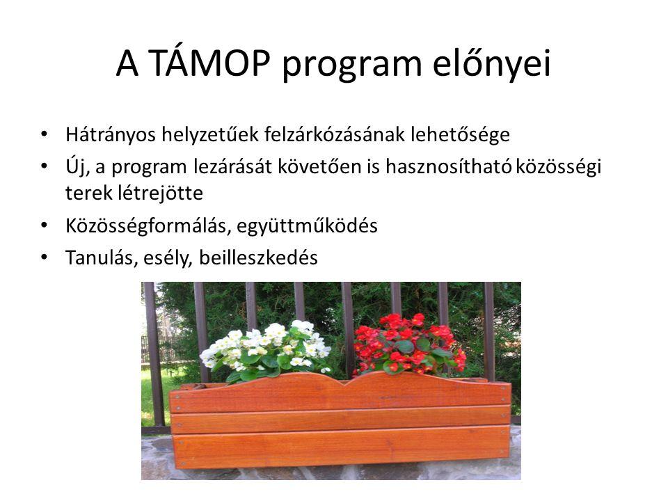 A TÁMOP program előnyei Hátrányos helyzetűek felzárkózásának lehetősége Új, a program lezárását követően is hasznosítható közösségi terek létrejötte Közösségformálás, együttműködés Tanulás, esély, beilleszkedés