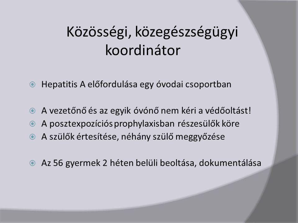 Közösségi, közegészségügyi koordinátor  Hepatitis A előfordulása egy óvodai csoportban  A vezetőnő és az egyik óvónő nem kéri a védőoltást.