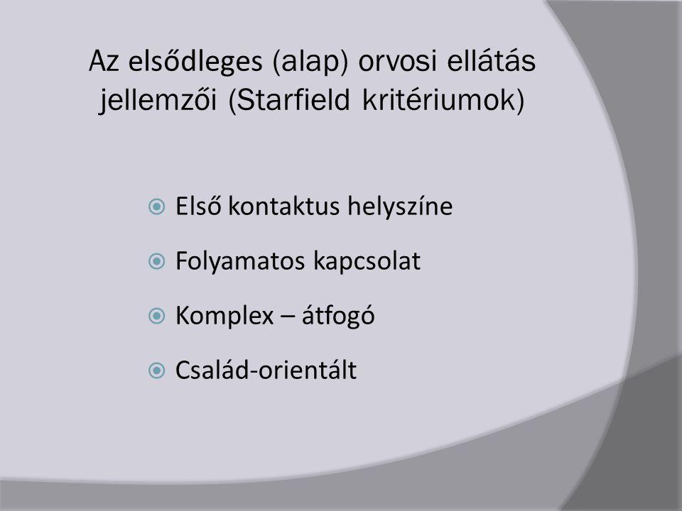 Az elsődleges (alap) orvosi ellátás jellemzői (Starfield kritériumok)  Első kontaktus helyszíne  Folyamatos kapcsolat  Komplex – átfogó  Család-orientált