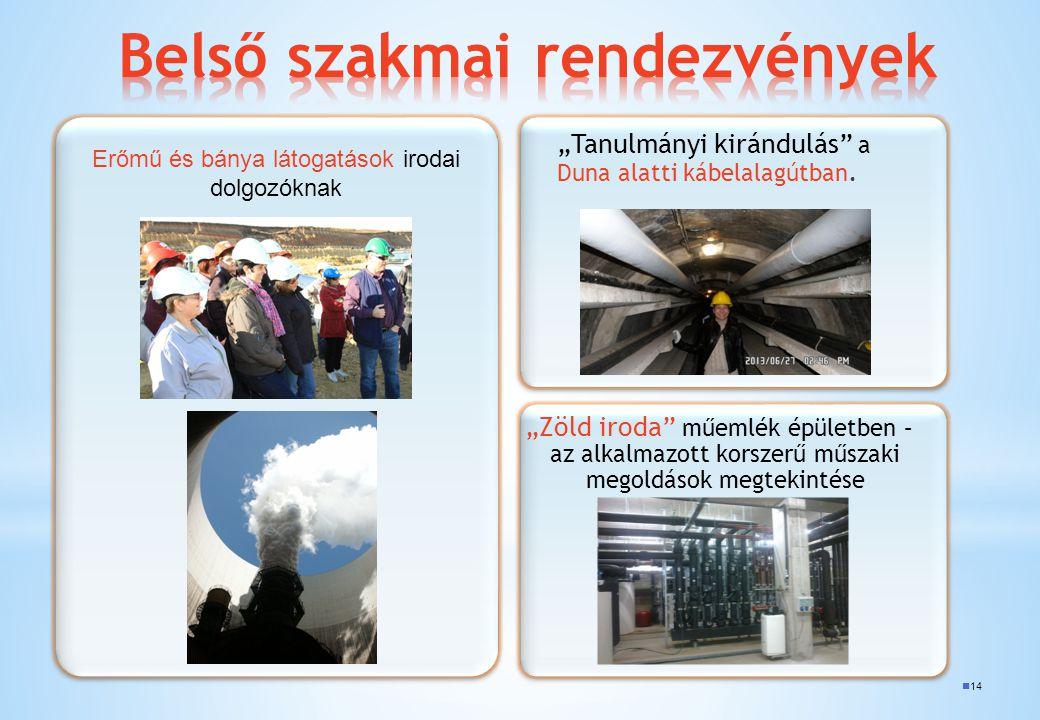 """14 """"Tanulmányi kirándulás"""" a Duna alatti kábelalagútban. """"Zöld iroda"""" műemlék épületben – az alkalmazott korszerű műszaki megoldások megtekintése Erőm"""