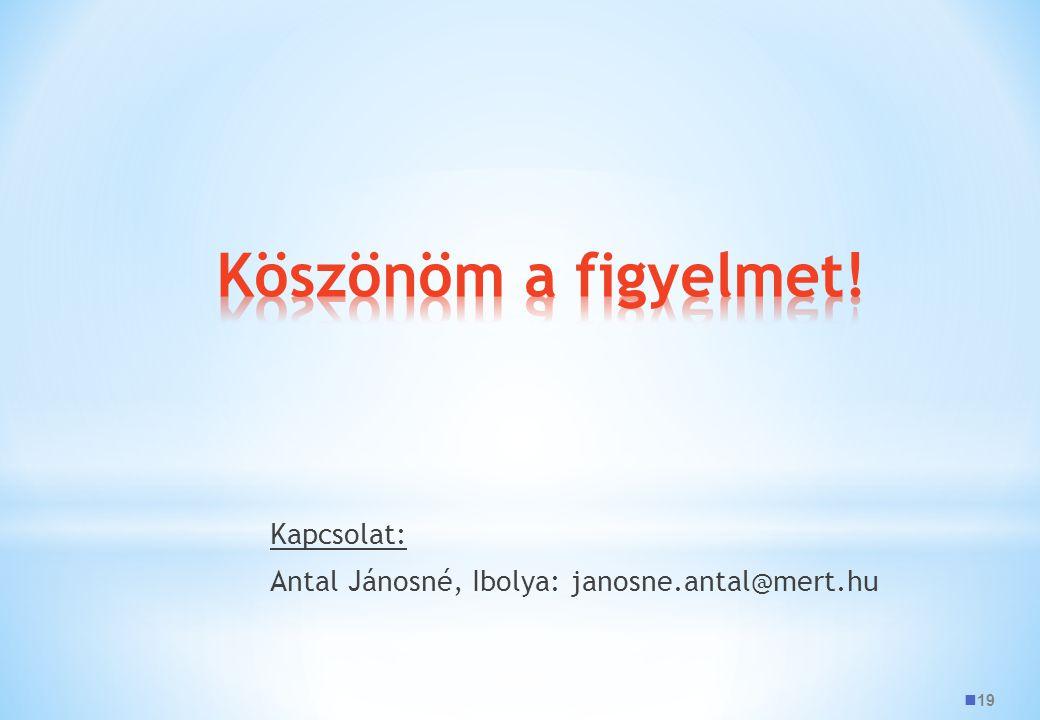 19 Kapcsolat: Antal Jánosné, Ibolya: janosne.antal@mert.hu
