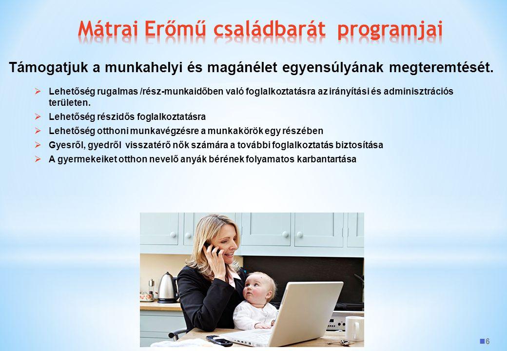 6  Lehetőség rugalmas /rész-munkaidőben való foglalkoztatásra az irányítási és adminisztrációs területen.  Lehetőség részidős foglalkoztatásra  Leh