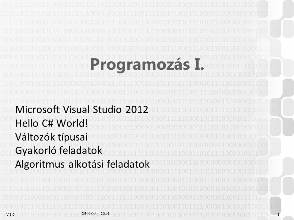 V 1.0 ÓE-NIK-AII, 2014 1 Programozás I.Microsoft Visual Studio 2012 Hello C# World.
