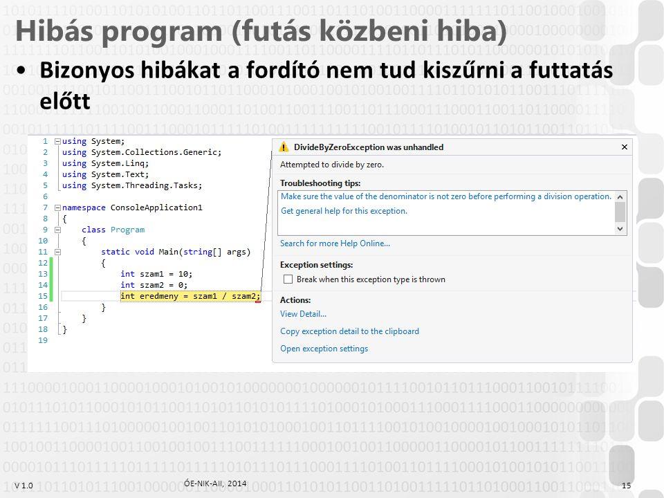 V 1.0 Hibás program (futás közbeni hiba) ÓE-NIK-AII, 2014 15 Bizonyos hibákat a fordító nem tud kiszűrni a futtatás előtt
