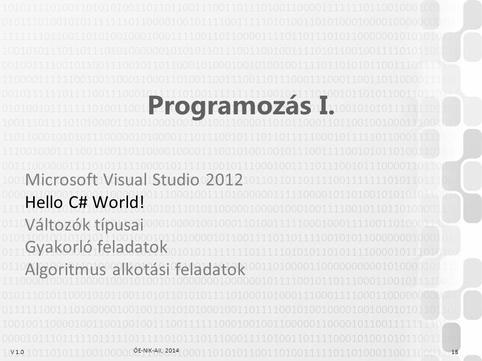 V 1.0 ÓE-NIK-AII, 2014 18 Programozás I.Microsoft Visual Studio 2012 Hello C# World.