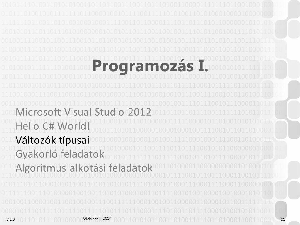 V 1.0 ÓE-NIK-AII, 2014 21 Programozás I.Microsoft Visual Studio 2012 Hello C# World.