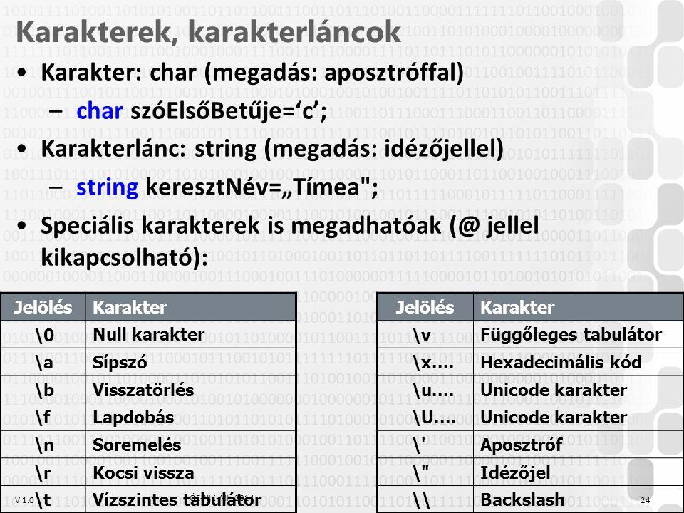 """V 1.0 Karakterek, karakterláncok Karakter: char (megadás: aposztróffal) – char szóElsőBetűje='c'; Karakterlánc: string (megadás: idézőjellel) – string keresztNév=""""Tímea ; Speciális karakterek is megadhatóak (@ jellel kikapcsolható): ÓE-NIK-AII, 2014 24 JelölésKarakter \0 Null karakter \a Sípszó \b Visszatörlés \f Lapdobás \n Soremelés \r Kocsi vissza \t Vízszintes tabulátor JelölésKarakter \v Függőleges tabulátor \x...."""