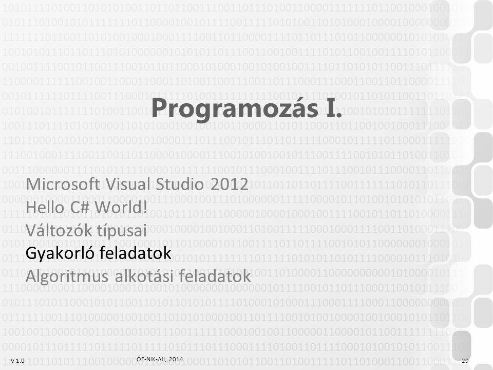 V 1.0 ÓE-NIK-AII, 2014 29 Programozás I.Microsoft Visual Studio 2012 Hello C# World.
