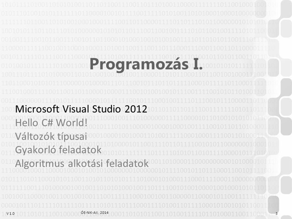 """V 1.0 Projektek és megoldások Projekt (""""Project ) A projekt egy futtatható programhoz vagy más típusú szoftvermodulhoz tartozó, együtt kezelt szoftverelemek (többségében fájlok) összessége."""