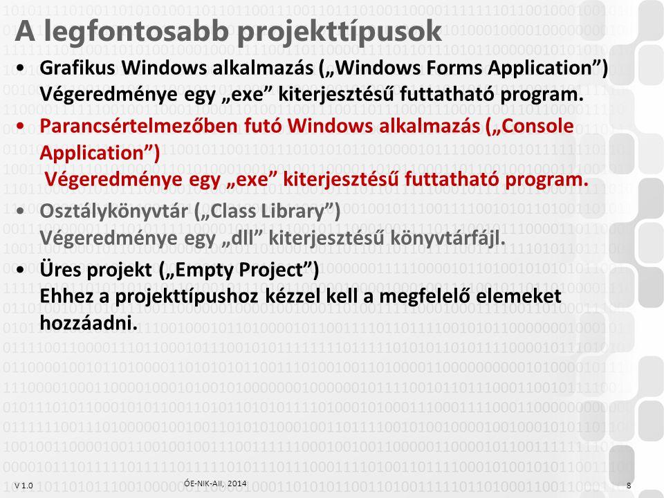 """V 1.0 A legfontosabb projekttípusok Grafikus Windows alkalmazás (""""Windows Forms Application ) Végeredménye egy """"exe kiterjesztésű futtatható program."""