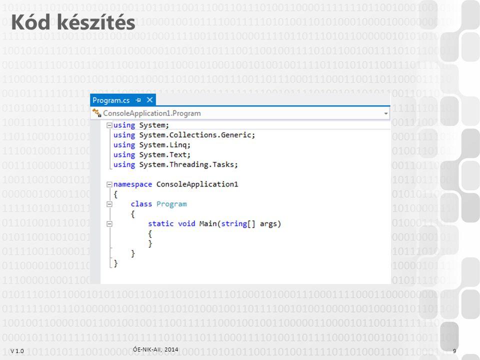 """V 1.0 class Program { static void Main() { Console.WriteLine( Szervusz, hallgató! ); Console.ReadLine(); } Hello, C# World Készítsünk programot, amely kiírja a konzolra a """"Szervusz, hallgató! szöveget."""