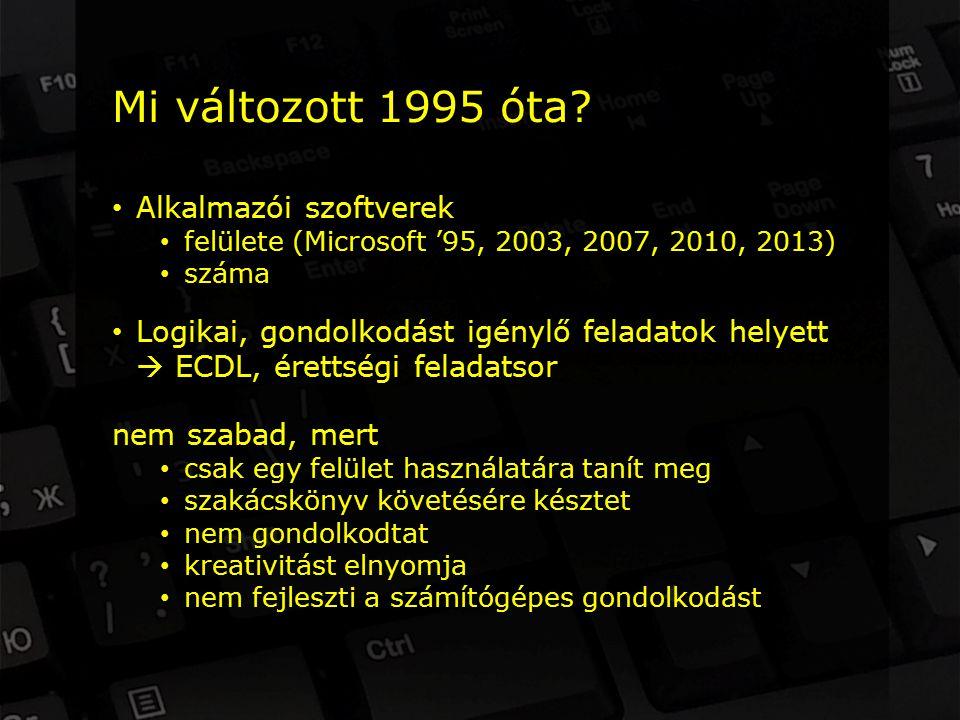 Alkalmazói szoftverek felülete (Microsoft '95, 2003, 2007, 2010, 2013) száma Logikai, gondolkodást igénylő feladatok helyett  ECDL, érettségi feladatsor nem szabad, mert csak egy felület használatára tanít meg szakácskönyv követésére késztet nem gondolkodtat kreativitást elnyomja nem fejleszti a számítógépes gondolkodást