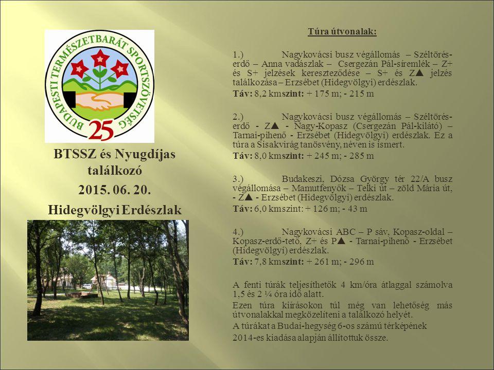 BTSSZ és Nyugdíjas találkozó 2015. 06. 20. Hidegvölgyi Erdészlak Túra útvonalak: 1.) Nagykovácsi busz végállomás – Széltörés- erdő – Anna vadászlak –