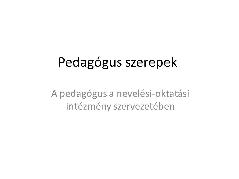 Pedagógus szerepek A pedagógus a nevelési-oktatási intézmény szervezetében