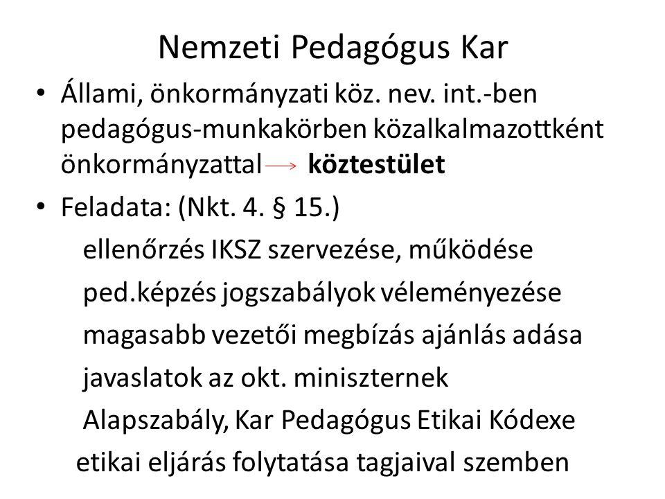 Nemzeti Pedagógus Kar Állami, önkormányzati köz. nev. int.-ben pedagógus-munkakörben közalkalmazottként önkormányzattal köztestület Feladata: (Nkt. 4.