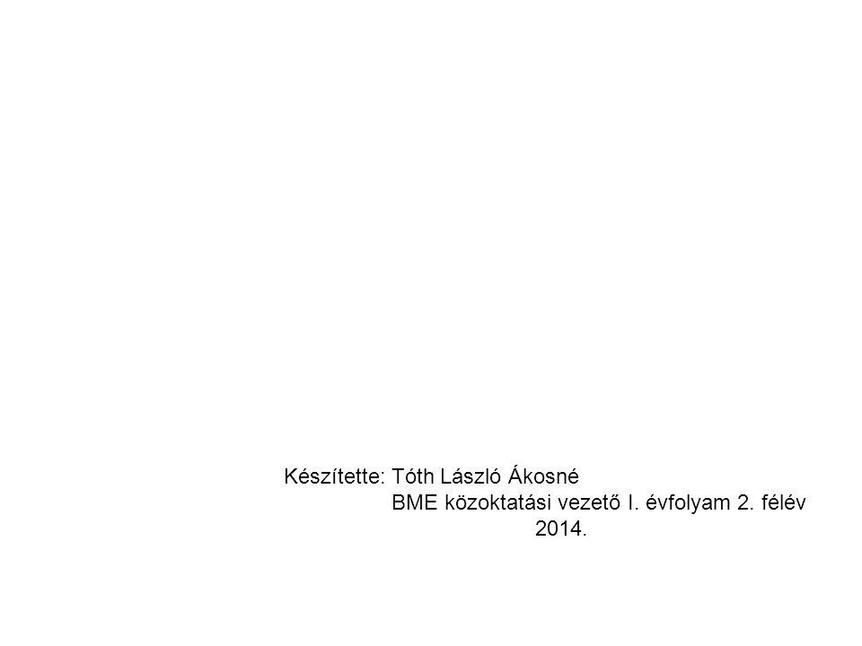 Készítette: Tóth László Ákosné BME közoktatási vezető I. évfolyam 2. félév 2014.