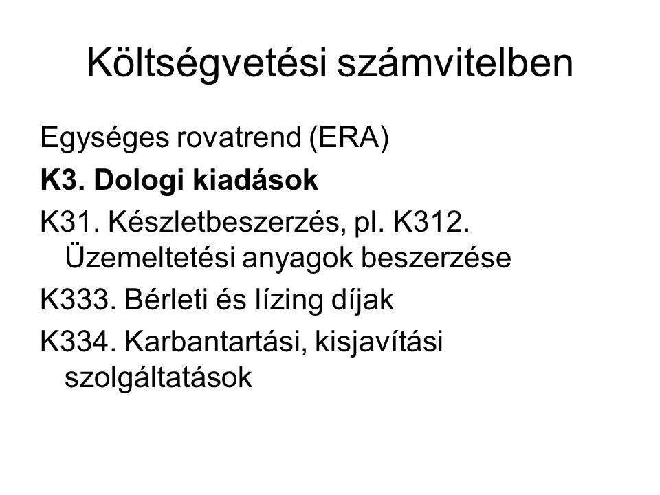 Költségvetési számvitelben Egységes rovatrend (ERA) K3. Dologi kiadások K31. Készletbeszerzés, pl. K312. Üzemeltetési anyagok beszerzése K333. Bérleti