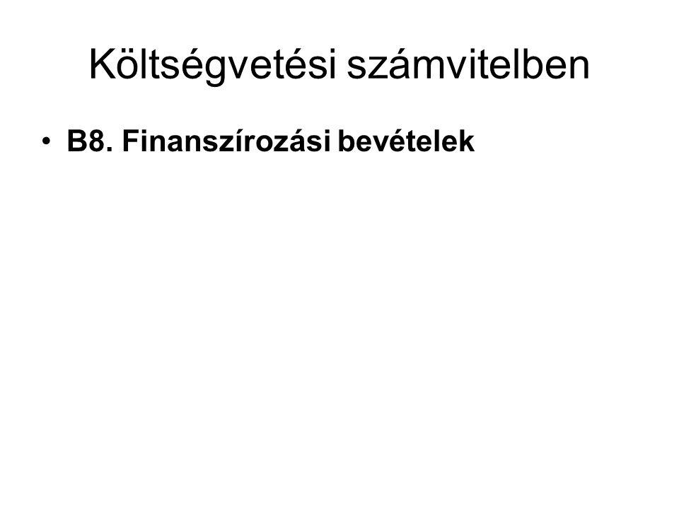Költségvetési számvitelben B8. Finanszírozási bevételek