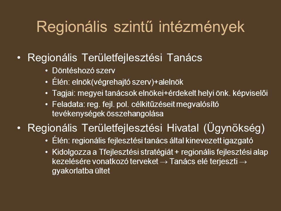 Regionális szintű intézmények Regionális Területfejlesztési Tanács Döntéshozó szerv Élén: elnök(végrehajtó szerv)+alelnök Tagjai: megyei tanácsok elnökei+érdekelt helyi önk.