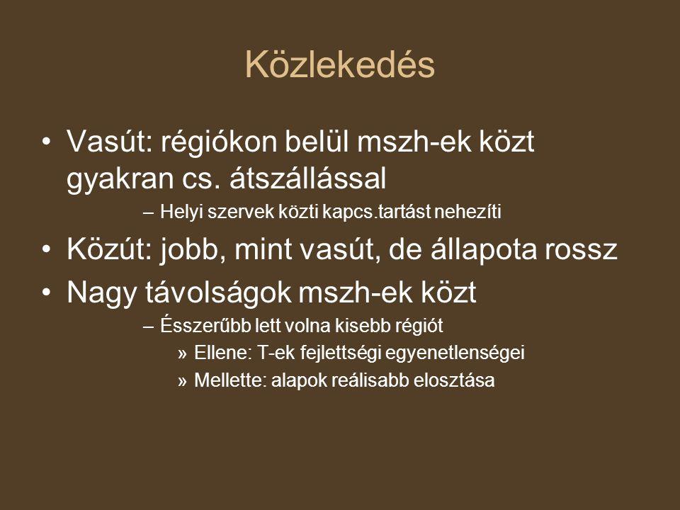 Közlekedés Vasút: régiókon belül mszh-ek közt gyakran cs.
