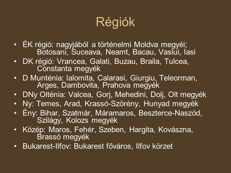 Régiók ÉK régió: nagyjából a történelmi Moldva megyéi; Botosani, Suceava, Neamt, Bacau, Vaslui, Iasi DK régió: Vrancea, Galati, Buzau, Braila, Tulcea, Constanta megyék D Munténia: Ialomita, Calarasi, Giurgiu, Teleorman, Arges, Dambovita, Prahova megyék DNy Olténia: Valcea, Gorj, Mehedini, Dolj, Olt megyék Ny: Temes, Arad, Krassó-Szörény, Hunyad megyék Ény: Bihar, Szatmár, Máramaros, Beszterce-Naszód, Szilágy, Kolozs megyék Közép: Maros, Fehér, Szeben, Hargita, Kovászna, Brassó megyék Bukarest-Ilfov: Bukarest főváros, Ilfov körzet