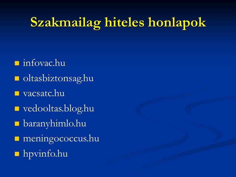 Szakmailag hiteles honlapok infovac.hu oltasbiztonsag.hu vacsatc.hu vedooltas.blog.hu baranyhimlo.hu meningococcus.hu hpvinfo.hu