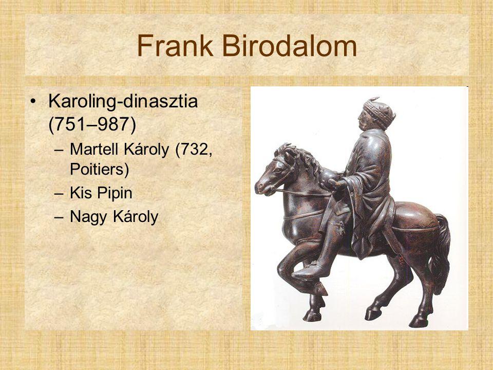 Frank Birodalom Karoling-dinasztia (751–987) –Martell Károly (732, Poitiers) –Kis Pipin –Nagy Károly