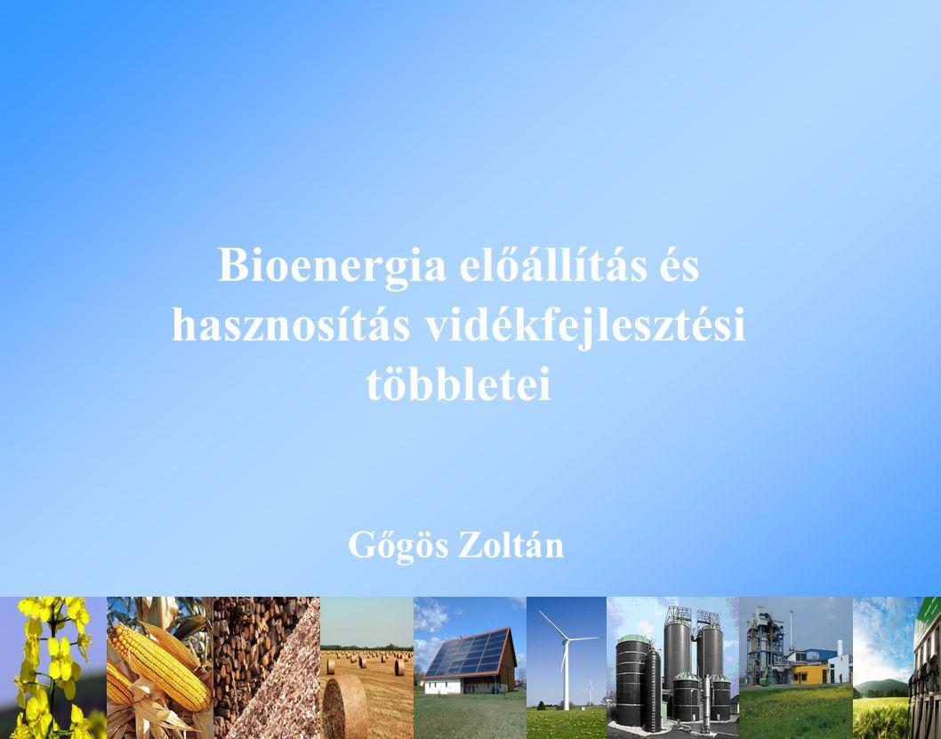 Bioenergia előállítás és hasznosítás vidékfejlesztési többletei Gőgös Zoltán