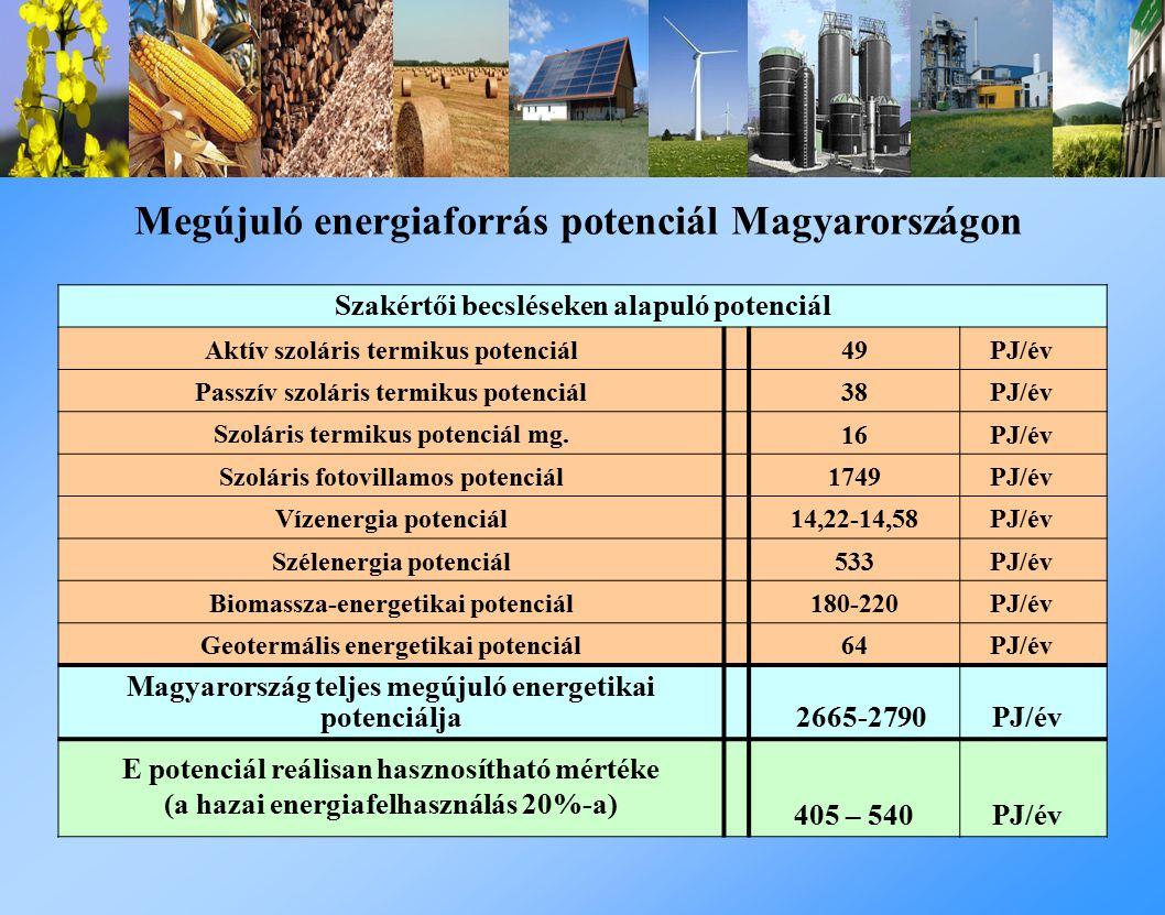 Szakértői becsléseken alapuló potenciál Aktív szoláris termikus potenciál 49 PJ/év Passzív szoláris termikus potenciál 38 PJ/év Szoláris termikus potenciál mg.