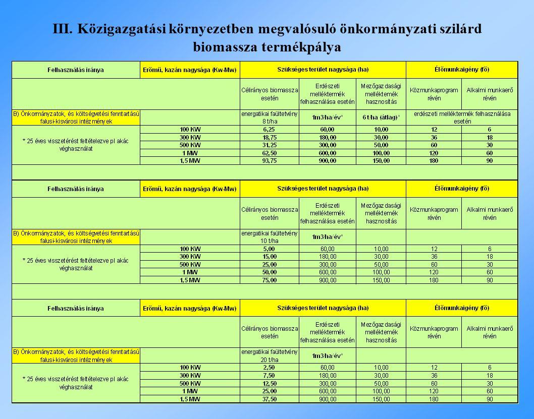 III. Közigazgatási környezetben megvalósuló önkormányzati szilárd biomassza termékpálya