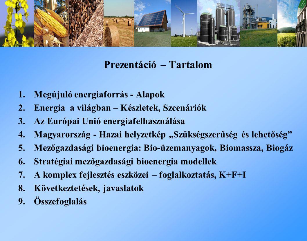 """Prezentáció – Tartalom 1.Megújuló energiaforrás - Alapok 2.Energia a világban – Készletek, Szcenáriók 3.Az Európai Unió energiafelhasználása 4.Magyarország - Hazai helyzetkép """"Szükségszerűség és lehetőség 5.Mezőgazdasági bioenergia: Bio-üzemanyagok, Biomassza, Biogáz 6.Stratégiai mezőgazdasági bioenergia modellek 7.A komplex fejlesztés eszközei – foglalkoztatás, K+F+I 8.Következtetések, javaslatok 9.Összefoglalás"""