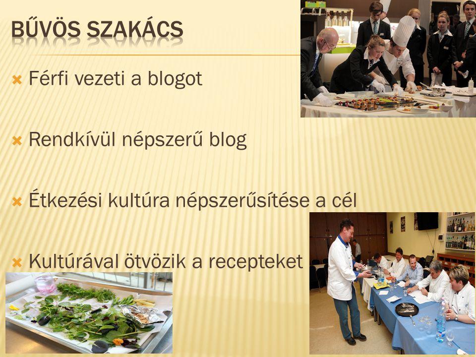 Férfi vezeti a blogot  Rendkívül népszerű blog  Étkezési kultúra népszerűsítése a cél  Kultúrával ötvözik a recepteket