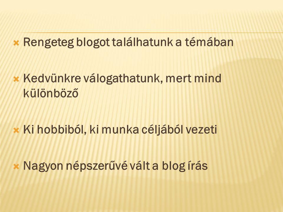  Rengeteg blogot találhatunk a témában  Kedvünkre válogathatunk, mert mind különböző  Ki hobbiból, ki munka céljából vezeti  Nagyon népszerűvé vált a blog írás