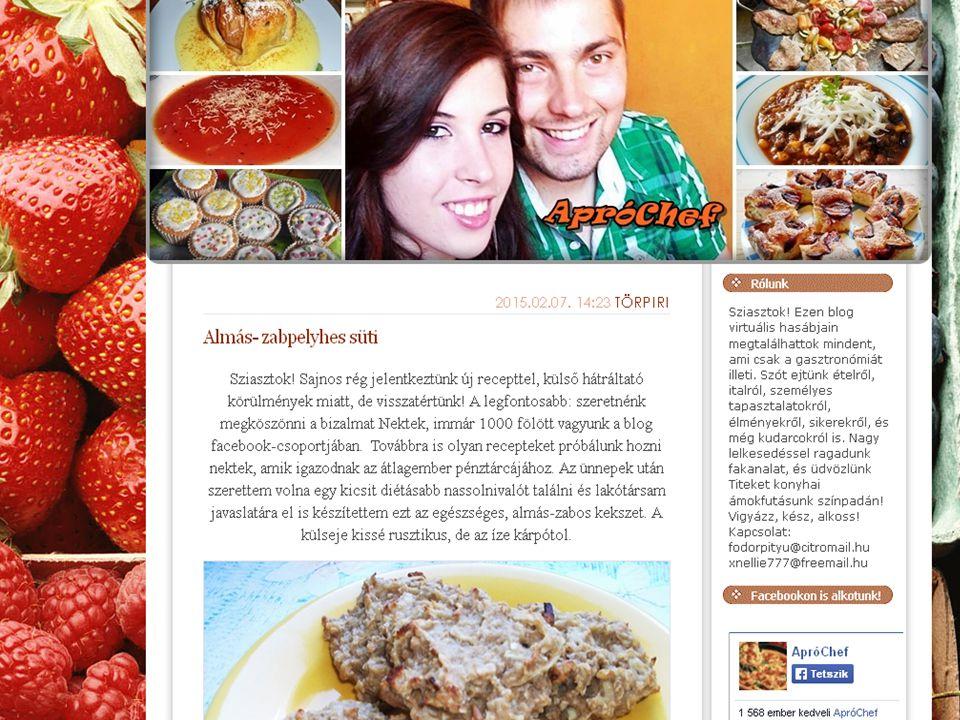 Gasztrománia, főként édességek  A receptekbe saját történetek csempészve  Naponta új receptek  A blog stílusa rendkívül igényes, kidolgozott