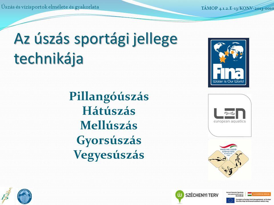Az úszás sportági jellege technikája Úszás és vízisportok elmélete és gyakorlata TÁMOP 4.1.2.E-13/KONV-2013-0010 Pillangóúszás Hátúszás Mellúszás Gyorsúszás Vegyesúszás