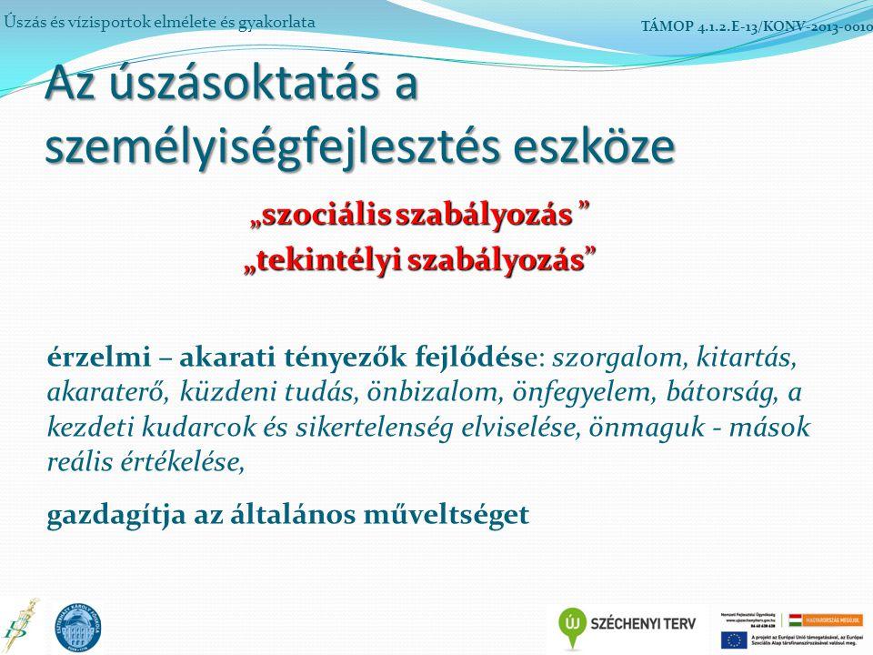 """Az úszásoktatás a személyiségfejlesztés eszköze Úszás és vízisportok elmélete és gyakorlata TÁMOP 4.1.2.E-13/KONV-2013-0010 """"szociális szabályozás """"tekintélyi szabályozás érzelmi – akarati tényezők fejlődése: szorgalom, kitartás, akaraterő, küzdeni tudás, önbizalom, önfegyelem, bátorság, a kezdeti kudarcok és sikertelenség elviselése, önmaguk - mások reális értékelése, gazdagítja az általános műveltséget"""