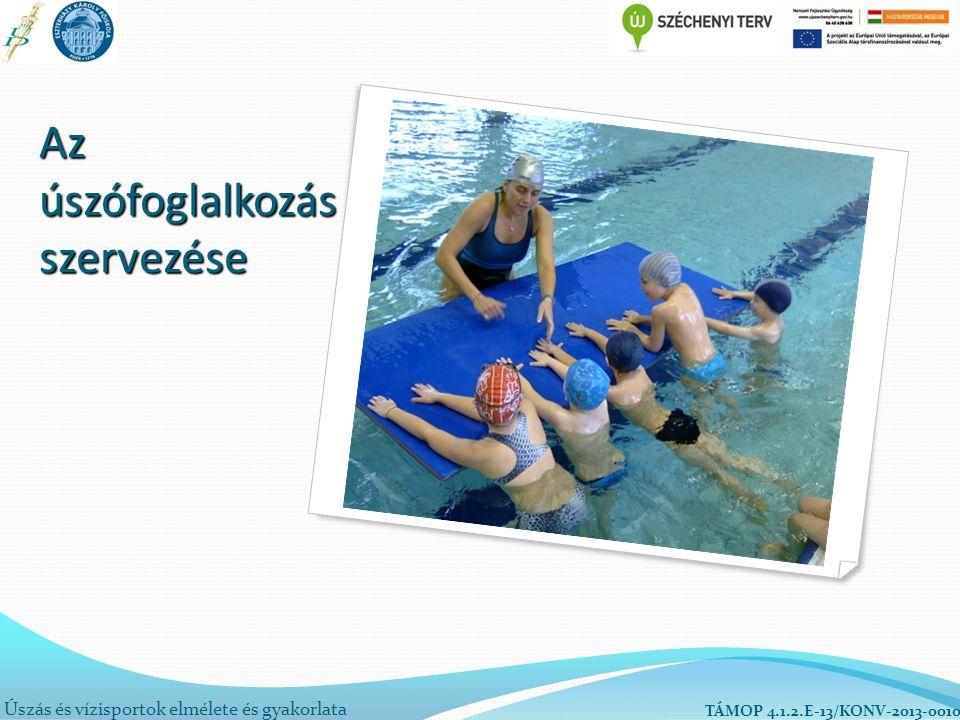 Úszás és vízisportok elmélete és gyakorlata TÁMOP 4.1.2.E-13/KONV-2013-0010 Az úszófoglalkozás szervezése