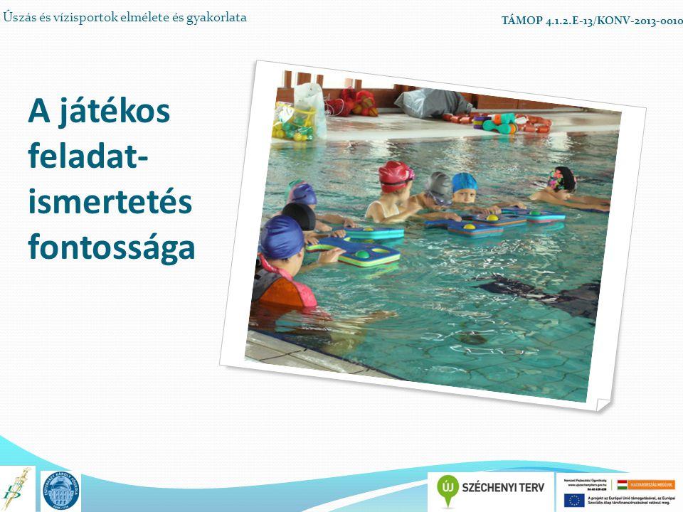A játékos feladat- ismertetés fontossága Úszás és vízisportok elmélete és gyakorlata TÁMOP 4.1.2.E-13/KONV-2013-0010