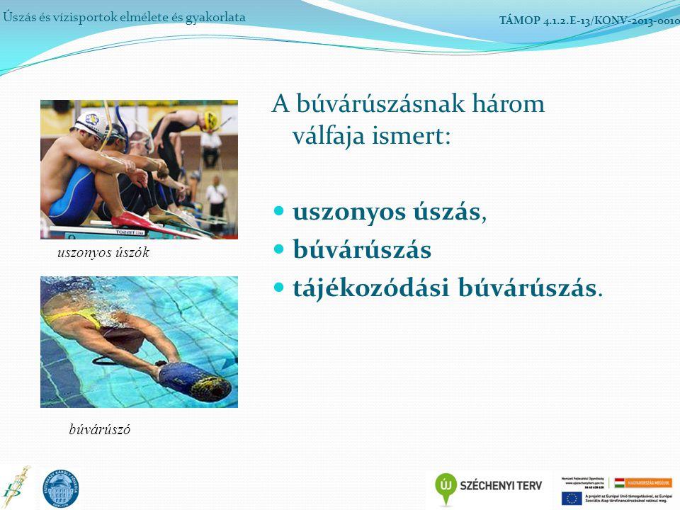 A búvárúszásnak három válfaja ismert: uszonyos úszás, búvárúszás tájékozódási búvárúszás. Úszás és vízisportok elmélete és gyakorlata TÁMOP 4.1.2.E-13